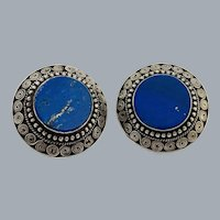 Vintage Sterling Silver Lapis Lazuli Etruscan Revival Cannetille Earrings