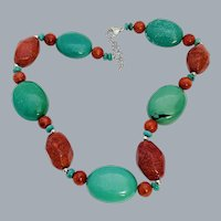 """Lucas Lameth LUC Sterling Silver Turquoise & Red Coral Necklace 20"""""""
