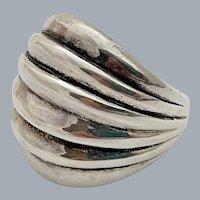 Vintage Sterling Silver Modernist Ribbed Domed Ring Size 6