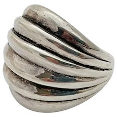 Vintage Sterling Silver Modernist Ribbed Domed Ring Size 6