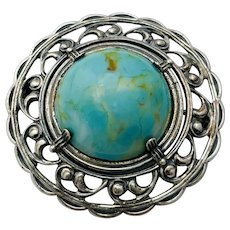 Vintage Sterling Silver Filigree Turquoise Art Glass Cabochon Brooch