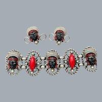 Vintage Selro Selini Asian Princess Bracelet & Earrings Set Black Red