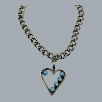 Vintage Sterling Silver Zuni Petit Point Turquoise Heart Charm Bracelet