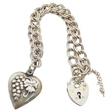 """Vintage Sterling Silver Puffy Heart Grapes Charm Bracelet Padlock Clasp 7"""""""