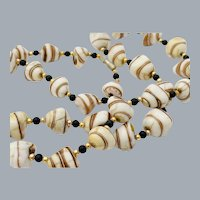 Vintage Art Glass Shell Shaped Bead Necklace