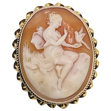 Vintage 10k Gold Shell Cameo Muse with Bird Brooch