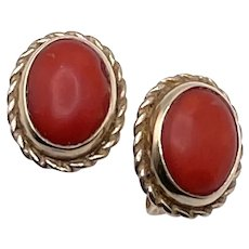 Vintage 14k Gold Coral Cabocon Stud Earrings