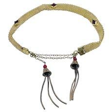 Vintage Art Deco Mesh Ruby Glass Tassel Bracelet