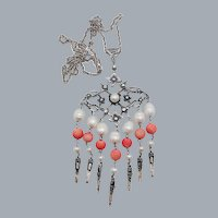 Vintage Coral & Pearl Sterling Silver Dangle Pendant Necklace