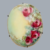 Antique Victorian Pink Roses Painted Porcelain Brooch Pin