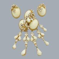 Vintage Beautiful Custard Glass Rhinestone Dangle Brooch Earrings Set Unsigned Alice Caviness