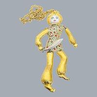 Vintage Enamel Plique A Jour Asian Siam Turban Man Figural Sword Pendant Necklace Very Large