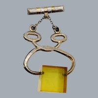 Vintage Amber Lucite Figural Tongs Ice Block Brooch 1940's/50's