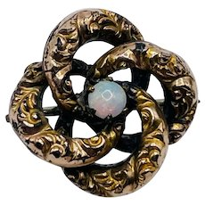 Antique Victorian Gold Filled Opal Lovers Knot Pin