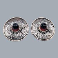 "Vintage Amethyst Sterling Silver Mexico Sombrero Hat Pierced Earrings 1.5"""