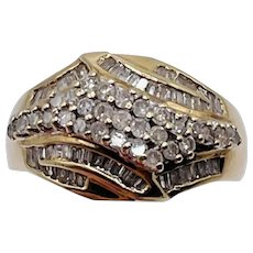 .80ctw 10k Yellow Gold Diamond Cluster Ring - Size 7 - Baguettes