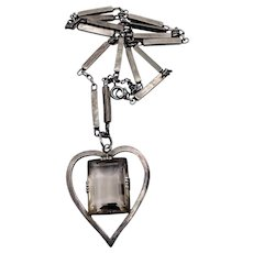 "Vintage Sterling Silver Smoky Quartz Gemstone Heart Pendant Necklace Chain 18"""