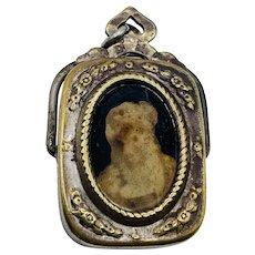 Antique Victorian Chatelaine Photo Locket Ink Stamp Fob Pendant