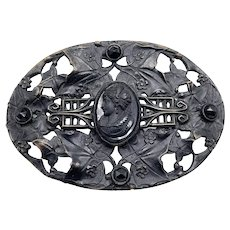 Huge Victorian Antique Black Glass Cameo Mourning Sash Brooch