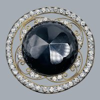 Beautiful Edwardian Victorian French Jet Glass Paste Hat Sash Adornment