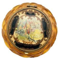 Vintage Carved Apple Juice Bakelite Celluloid Compact Mirror