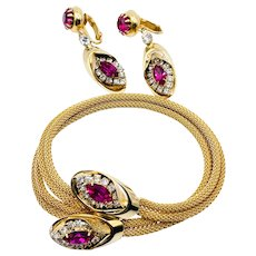 Vintage KRAMER Signed Pink Fuchsia Rhinestone Mesh Bracelet Earrings Set