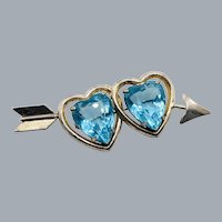 RARE Coro Sterling Silver Vermeil Blue Glass Rhinestone Double Heart Arrow Brooch