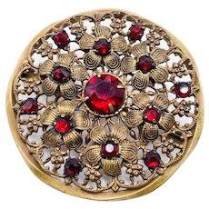 Antique Czechoslovakia Czech Red Rhinestone Brass Filigree Floral Brooch Signed