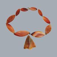 Big Antique Red Agate Stone Necklace Dangle Pendant