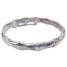 Vintage Sterling Silver Etched Chased Hinged Bangle Bracelet Signed