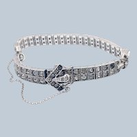Antique Diamonbar Art Deco Sterling Silver Buckle Bracelet