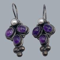 Vintage Sterling Silver Amethyst Pearl Earrings