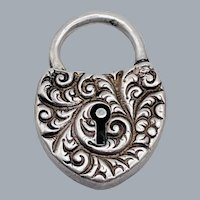 Antique Victorian Sterling Silver Repousse Puffy Heart Padlock Bracelet Clasp