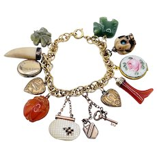 Antique Victorian Charms on Gold Filled Bracelet Carnelian jade mother of pearl skull lockets hearts