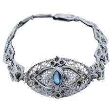 Antique Edwardian Art Deco Filigree Rhodium Bracelet Blue Paste signed H for Helgen Mfg