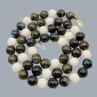 Vintage Angel Skin Coral & Labradorite Bead 14k Gold Clasp Necklace