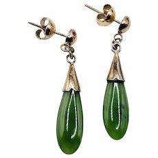 Vintage Jade Silver Gold Vermeil Dangle Earrings