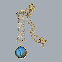 Antique Gold Filled Blue Morpho Butterfly Wing Fob Pendant Necklace