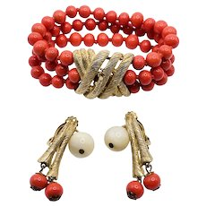 Vintage Coral Art Glass Beaded Triple Strand Bracelet & Earrings