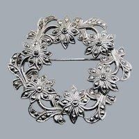 Vintage Sterling Marcasite Floral Wreath Brooch