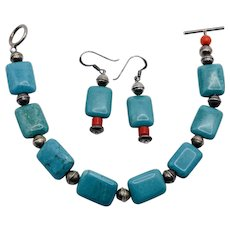 Vintage Southwest Sterling Silver Turquoise & Coral Bracelet Earrings Set