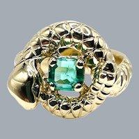 Vintage 14k Yellow Gold Custom Snake Ring .71ct Natural Emerald Diamond Eyes
