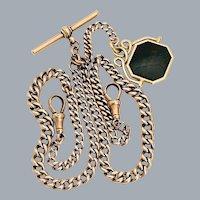 Antique 9k Rose Gold Double Albert Pocket Watch Chain & 14k Bloodstone Spinner Fob