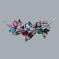 Vintage Sterling Silver Glass Rhinestone Flower Brooch Signed