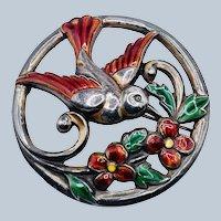 Vintage CORO Signed Sterling Silver Enameled Bird Flower Brooch