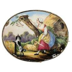 Antique Victorian 9k Rose Gold Hand Painted Brooch Woman Bird Dog Sheep Tree Scene