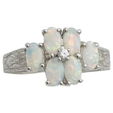 Vintage Estate 14k White Gold .96ctw Opal Cluster Diamond Ring Size 6.25