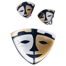Vintage Sterling Silver Onyx Brass Mexico Modernist Face Mask Brooch Earrings Set