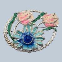 Vintage 1940's Pot Metal Enameled Flower Brooch Blue Lucite Domed Cabochon