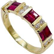 18k Gold Ruby Diamond Clyde Duneier Band Ring 3.7g Sz 6.5